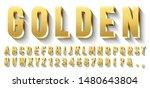 golden 3d font. metallic gold... | Shutterstock .eps vector #1480643804
