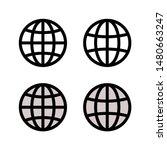 globe earth vector icons set.... | Shutterstock .eps vector #1480663247