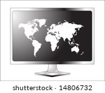 plasma lcd tv with world map | Shutterstock .eps vector #14806732