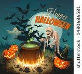 halloween illustration. square... | Shutterstock .eps vector #1480686581