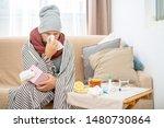 sick man wearing grey hat and... | Shutterstock . vector #1480730864