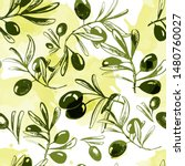green olives  olive branch with ... | Shutterstock .eps vector #1480760027