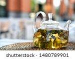 glass teapot with fresh green... | Shutterstock . vector #1480789901