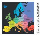map of europe in colors of... | Shutterstock .eps vector #1480818257