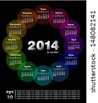 colorful calendar for 2014 in... | Shutterstock .eps vector #148082141