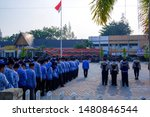 Small photo of Dumai, Indonesia – August 17, 2019: Police and Civil Servant at ceremony of Independence Day of Indonesia 74th in Dumai, Riau, Indonesia