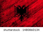 albania flag painted on wooden...   Shutterstock . vector #1480860134