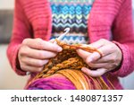 Woman Crochets. Handwork....