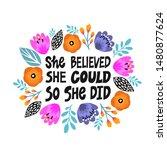 she believed  she could so she...   Shutterstock .eps vector #1480877624