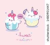 cute unicorn vector couple cake ... | Shutterstock .eps vector #1480901447