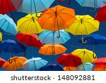 lots of umbrellas coloring the... | Shutterstock . vector #148092881