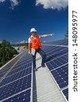 young technician checking solar ... | Shutterstock . vector #148095977