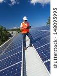 young technician checking solar ... | Shutterstock . vector #148095995