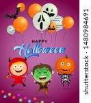 happy halloween greeting card...   Shutterstock .eps vector #1480984691