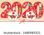 japanese new years card in 2020.... | Shutterstock .eps vector #1480985321