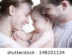 closeup side view of happy... | Shutterstock . vector #148101134