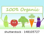 cartoon vegetables with sign... | Shutterstock .eps vector #148105727