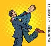 gay couple in love. pop art... | Shutterstock .eps vector #1481058491