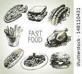 fast food set. hand drawn... | Shutterstock .eps vector #148110431