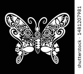 butterfly hand drawn decoration ...   Shutterstock .eps vector #1481207981