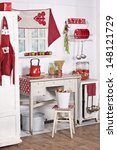 Red And White Kitchen With Old...