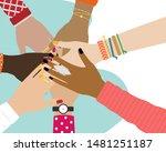 concept of team work. friends...   Shutterstock . vector #1481251187