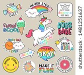 set of fashion patches  cute...   Shutterstock .eps vector #1481251637