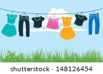 Stock vector clothes on washing line against blue sky and green grass 148126454