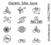 electric bike icon set in thin... | Shutterstock .eps vector #1481279894