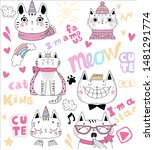 funny cats   set. illustration...   Shutterstock .eps vector #1481291774