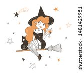 witch drinking cocktail flat... | Shutterstock .eps vector #1481429951