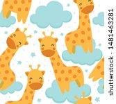 giraffe cute seamless pattern... | Shutterstock .eps vector #1481463281