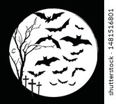black and white halloween and... | Shutterstock .eps vector #1481516801