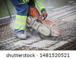 Worker Is Cutting Concrete Wit...