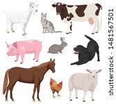 set of of cute domestic farm... | Shutterstock .eps vector #1481567501