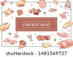 chicken meat colorful concept... | Shutterstock .eps vector #1481569727