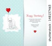 vector card. white spitz holds...
