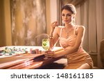 girl drinking cocktail in casino | Shutterstock . vector #148161185