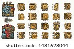 mayan alphabet. ancient mexican ... | Shutterstock .eps vector #1481628044