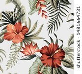 tropical vintage red hibiscus... | Shutterstock .eps vector #1481664731
