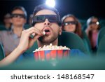 men at the cinema. excited... | Shutterstock . vector #148168547