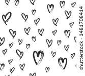 heart doodles seamless love... | Shutterstock .eps vector #1481708414