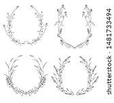 floral black and white frame... | Shutterstock .eps vector #1481733494