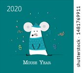 funny mouse  symbol of 2020... | Shutterstock .eps vector #1481769911