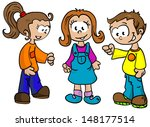 Cartoon Illustration Two Girls Boy Stock 148177514