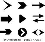 set of black vector arrows.... | Shutterstock .eps vector #1481777387
