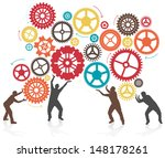 silhouette men turning and... | Shutterstock .eps vector #148178261