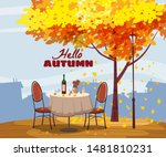 hello autumn cafe table with... | Shutterstock .eps vector #1481810231