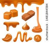 caramel liquid. drops and... | Shutterstock .eps vector #1481844584