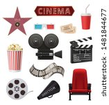 movie realistic. cinema objects ... | Shutterstock .eps vector #1481844677